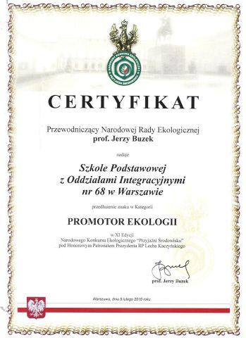 Certyfikat Promotor Ekologii