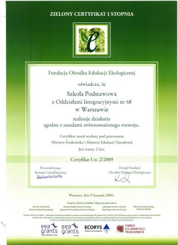 Zielony Certyfikat I Stopnia