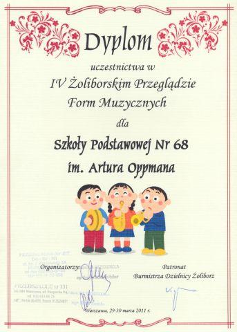 Dyplom uczestnictwa w IV Żoliborskim Przeglądzie Form Muzycznych