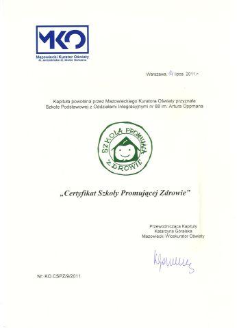 Certyfikat Szkoły Promującej Zdrowie