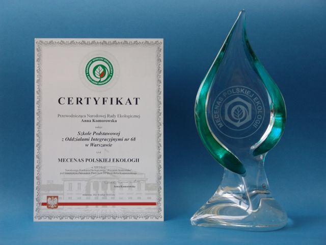 Certyfikat Mecenas Polskiej Ekologii oraz statuetka